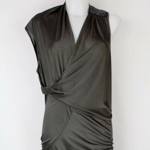 Max Azria Olive Green Ruched Dress Size Small